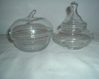 2 vintage clear  blown glass candy dishes or trinket bowls