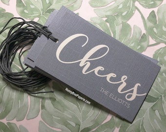 Personalized Cheers Gift Tag ·· Gift Card · Wine Champagne Gift Tag