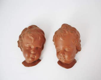 Vintage Terracotta Baby Head Plaques - Hummel Style Boy and Girl Head Plaque Wall Hangings by Coventry Ware