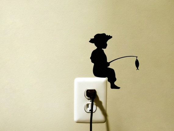 Fishing Velvet Wall Decal Child Silhouette Wall Decor Kid