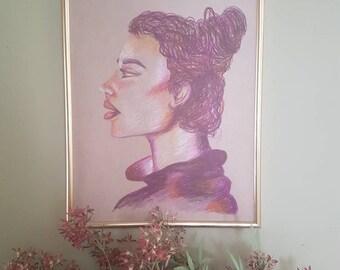 "A3 Oil Pastel illustration, ""Defiant"""