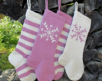 """Knit Christmas Stockings ~20"""" Personalized Hand knit Wool Gray Dark Gray Purple Mauve  White Red Green Deer Snowflake Tree Stripes ornaments"""