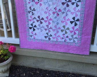 Price reduced! Pink and grey baby quilt