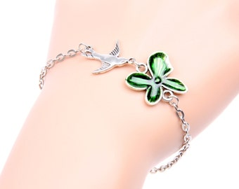 bracelet Swallow and green clover