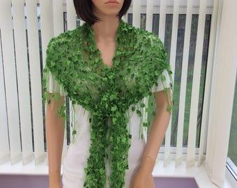 Green shawl, metallic green wrap, shawl for a party, festive shawl, fringed shawl, handmade shawl, eye catching shawl, versatile wrap,