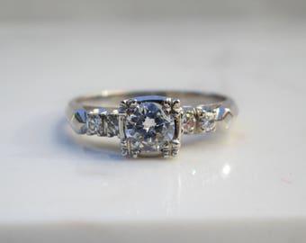 Vintage MidCentury 14k Solid White Gold Illusion Setting Diamond Engagement Ring, Size 7