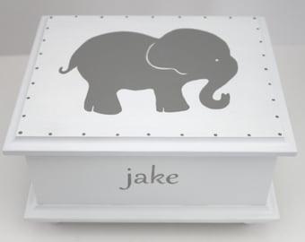 Baby keepsake box - Grey Gray Elephant Baby Keepsake Memory Box personalized neutral baby gift hand painted baby shower gift