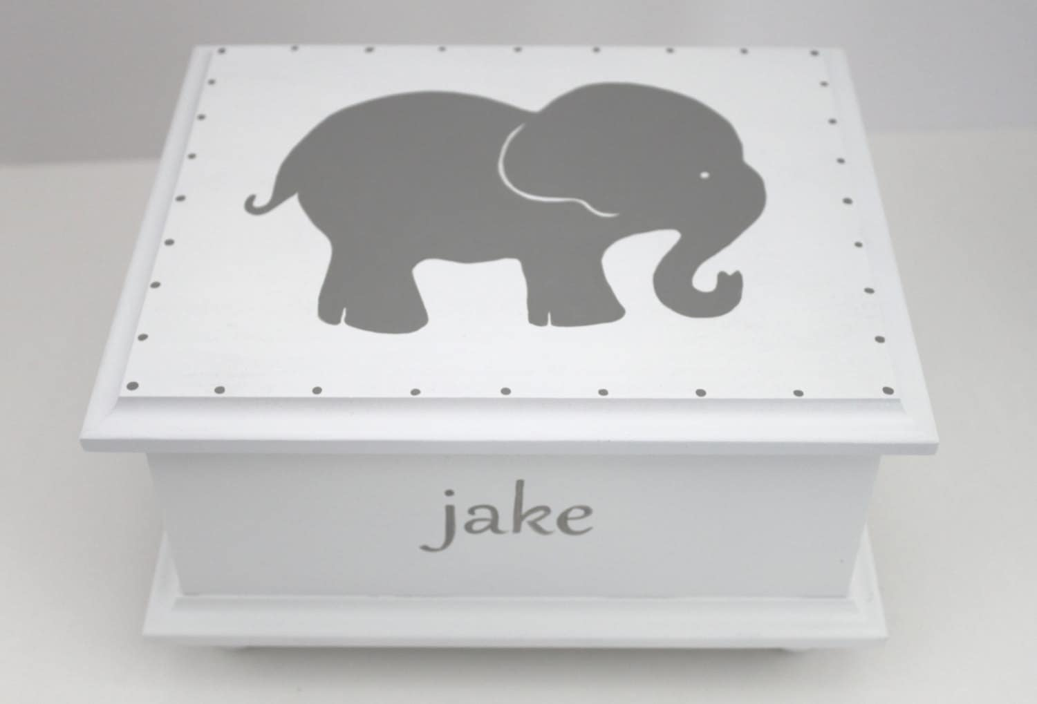 Baby keepsake box grey gray elephant baby keepsake memory zoom negle Gallery