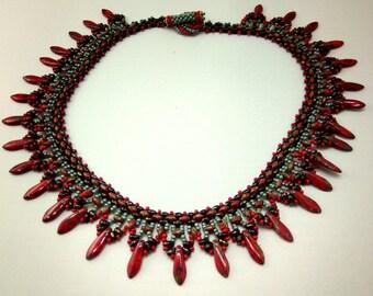 Bead woven Dagger Necklace