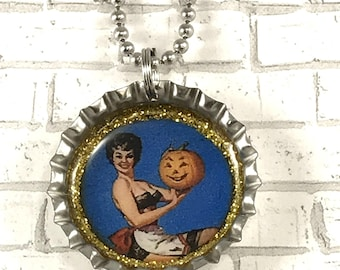 Halloween Necklace, Halloween Jewelry, Pinup Girl, Pinup Girl Jewelry, Halloween Vixen, Bottle Cap Necklace, Bottle Cap Jewelry