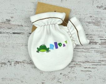 Monogram Mittens, White Hand Warmers, Printed Gloves, Baby Mittens, Newborn Fashion, Mothers Day Gift, Animal Gloves, Designer Mittens