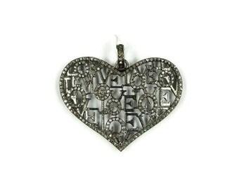 Pave Diamond Love Pendant , Pave Diamond Love Necklace ,Diamond Love Pendant , Diamond Heart Pendant