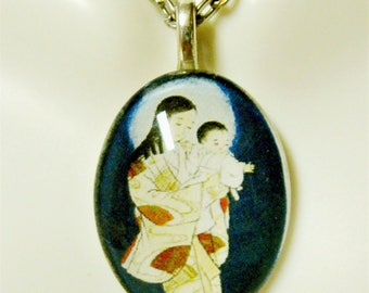 Japanese Madonna and child pendant with chain - GP12-435 cameo style