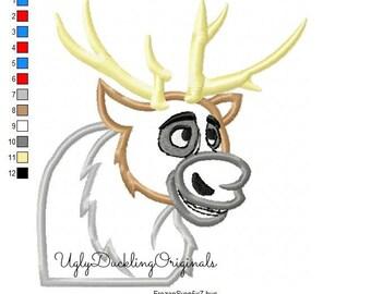 Frozen Sven Reindeer Machine Embroidery Applique Design Digital Download