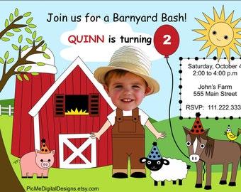 Custom Photo Farm Birthday Invitation, Custom Birthday Invitation, Birthday Invitations, Photo Birthday Invitations