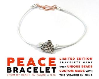 PEACE BRACELET // Buddha Bead // 1mm White Leather Laughing Buddha Bracelet Personalized Custom Wedding Party Gift Retreat Gift Unisex Luck