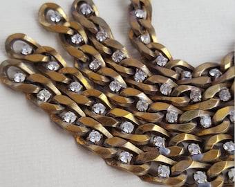 Vintage brass clear rhinestone curb chain