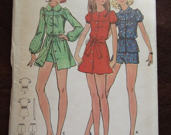 1960's Ladies Young Junior/Teen BUTTERICK PATTERN For Dress Top & Shorts