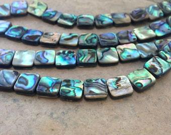 Abalone Beads, Medium Squares, 10mm, 16 inch strand