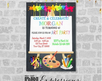 Art Party Invitation, Art Birthday Party Invitation, Create And Celebrate Art Painting Party Invitation, Digital or Printed