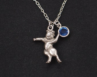 dancing pig necklace, sterling silver filled, birthstone necklace, silver pig charm, pig 3D charm necklace, fun necklace, animal, girls gift