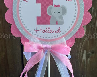 Centerpiece, Pink Grey Elephant Personalized Centerpiece, Birthday, Baby Shower, Photo Prop, Table Centerpiece, Elephant Centerpiece