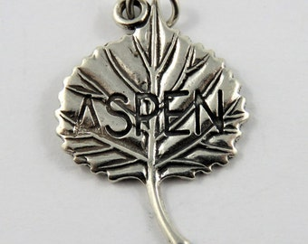 Quaking Aspen Leaf Sterling Silver Charm or Pendant.