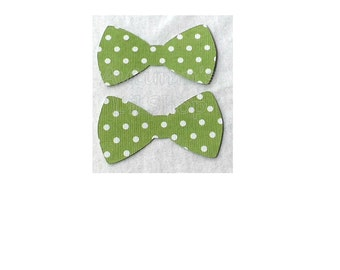 Green Polka Dot Bowtie, Birthday Paper Bow Diecut, Baby Shower, Bowtie Confetti, Cupcake Topper, Fathers Day, Gift Card Bow - 24 Ct.