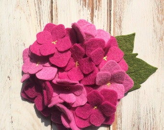 Wool Felt Hydrangea - Rose Petal & Passion Flower - Set of 2