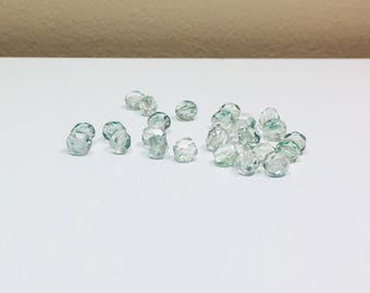 25 Picasso Green Czech Rounds, 6mm, Faceted, Rounds, Czech Beads, Picasso Finish, Bead Supplies, Jewelry Supplies, Green