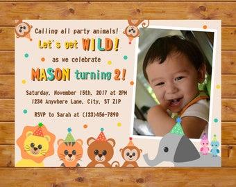 Party Animal Birthday Invitation - Photo Birthday Invitation - Zoo Invite - Safari Jungle Theme Birthday - Printable, Custom, Digital File