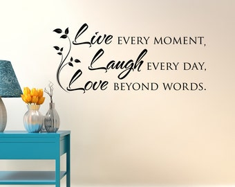 Live Laugh Love Wall Decal Quote  Inspirational Vinyl Wall Decal Quote  Bedroom  Wall Decal