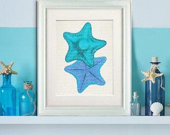 Blue Starfish Shades Duo - starfish art print Starfish decor Living room décor coastal living decor coastal bathroom wall art ocean décor