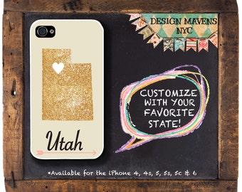 Utah iPhone Case, Gold Phone Case, Personalized State Love iPhone Case, iPhone 8, 8 Plus, iPhone 7, 7 Plus, iPhone 6, 6s, 6 Plus, SE, 5s, 5c