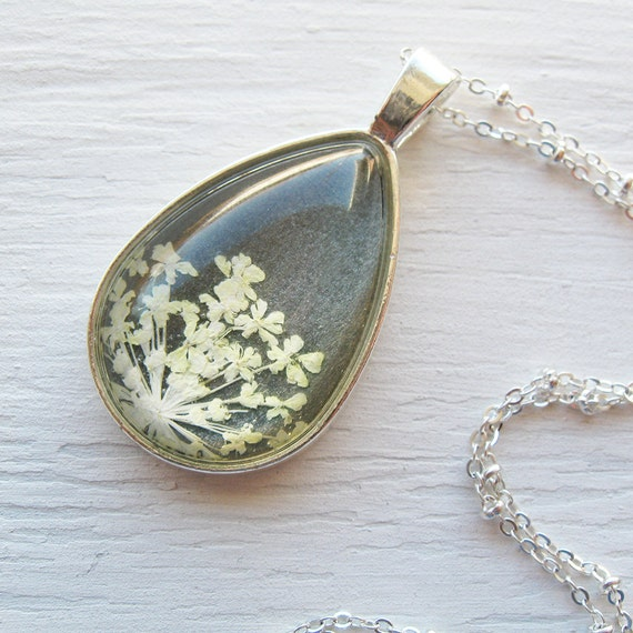 Real Pressed Flower Necklace - Silver, Charcoal Gray and White Queen Anne's Lace Botanical Teardrop Necklace
