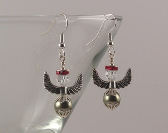 Light Green Swarovski crystal pearl angels earrings with red halos