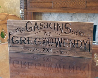Couples Name Sign, Anniversary Gift For Him, Carved Wooden Sign, Personalized Sign, Parents Anniversary, Benchmark Custom Signs, Walnut SB
