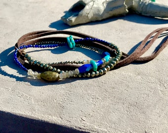 Bracelet collection AZURA ethnic Pearl gemstone and leather, turquoise, lapis lazuli, labradorite, pyrite