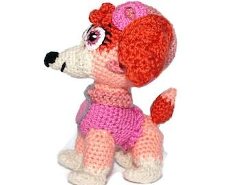 Crochet dog Skye Paw Patrol Birthday gift for girl Puppy dog Crochet puppy Stuffed animal dog plush toy Custom stuffed dog favorite characte