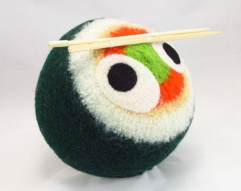 Sushi Snooter-doot – felted wool toy food, whimsical soft-sculptured doll, hand-knit plush, decorative softie, collectible stuffie, chopstix