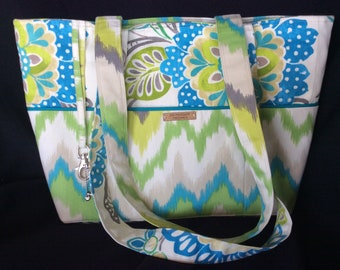 Big Floral Beach or Market Tote Bag in Blues, Greens, Browns and Beige