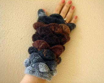 New Winter Season Colors Grey Taupe Nougat  Brown Fingerless Gloves