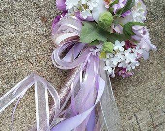 Blush Lilac Rose Flower Girl Pom Wand Custom Order