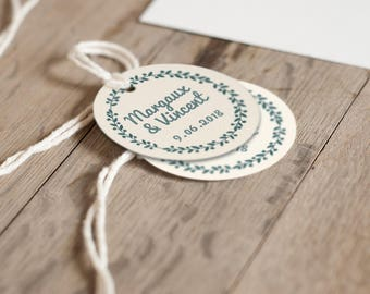 10 personalized wedding tags - Diameter 45mm - guest gift - Wedding, Bohemian chic, vintage,
