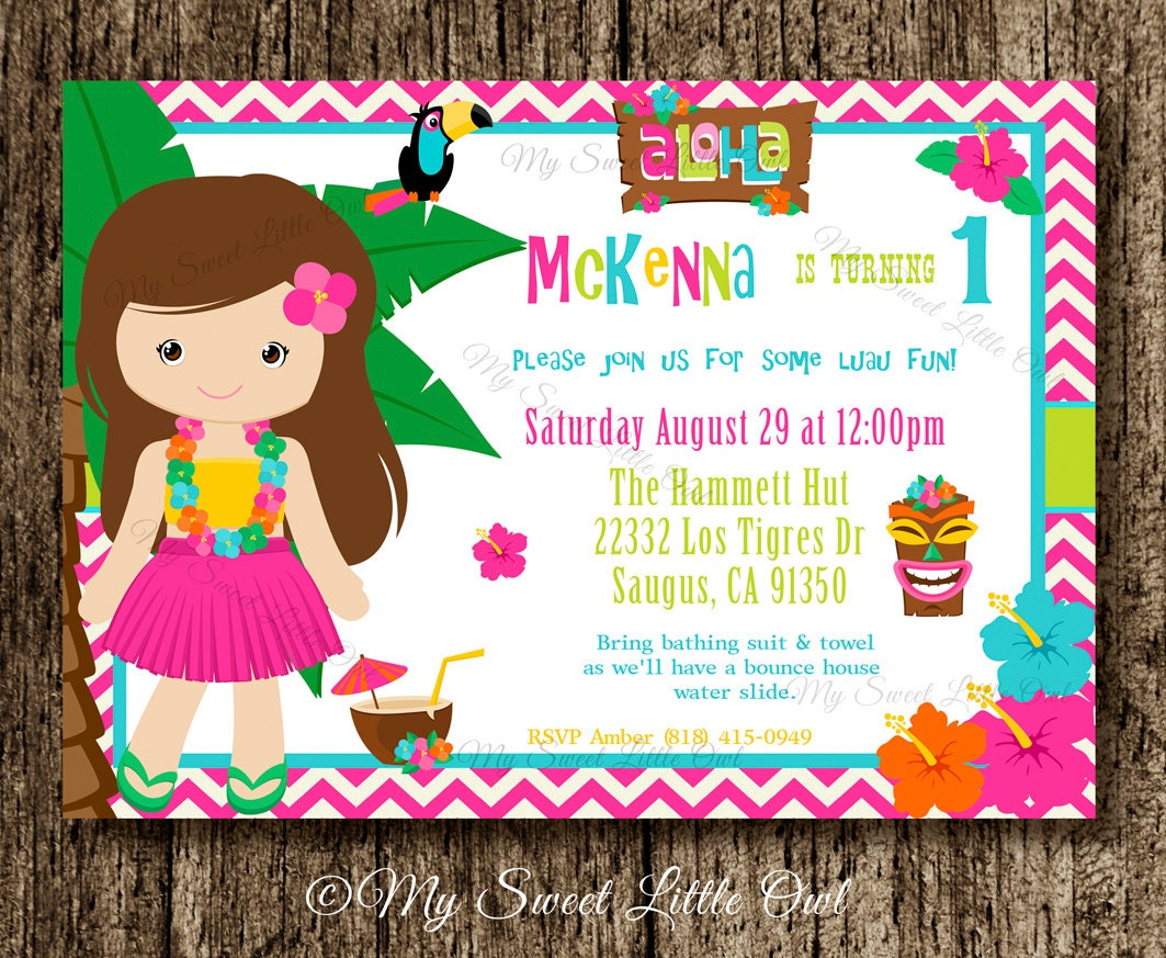 Invitacion Luau Cumplea Os Hawaiano Baby Shower Hawaiano # Muebles Hawaianos