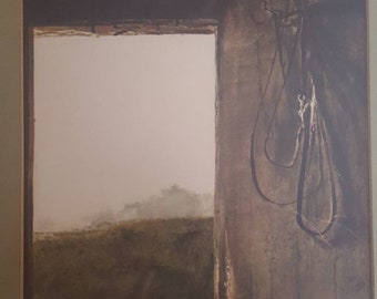 Andrew Wyeth / Burning Off / Rustic Wall Decor / Vintage Signed Lithograph  / Framed / Matted