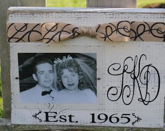 Monogram Wood Block Picture Frame-Great Wedding Gift, Shower Gift, Anniversary Gift