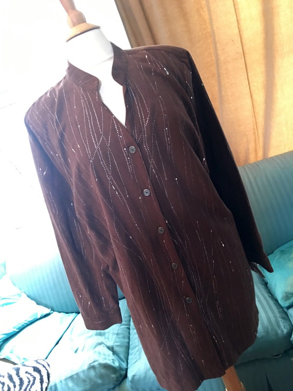 Vintage Erin London ultra suede long oversized shirt brown with silver drizzle 80's