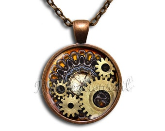 Steam-punk Gears -  Round Glass Dome Pendant or with Necklace by IMCreations
