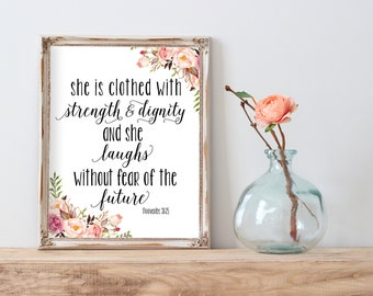 She Is Clothed With Strength And Dignity Print, Girl Quote Print, Quote Printable, Girl Wall Art, Floral Nursery Prints, Nursery Printable